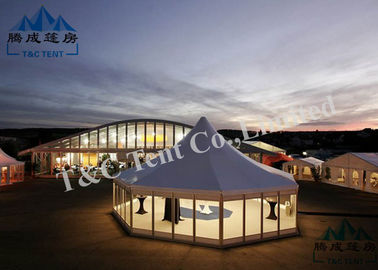 Portable Holiday Hotel Bell Tent With VIP Cassette Flooring / Double Wing Glass Door
