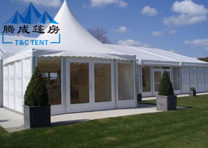 Advertising Pagoda Party Tent With White PVC Window / Sidewall Curtain